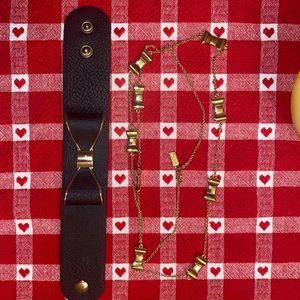 Kate spade bow gold necklace leather bracelet